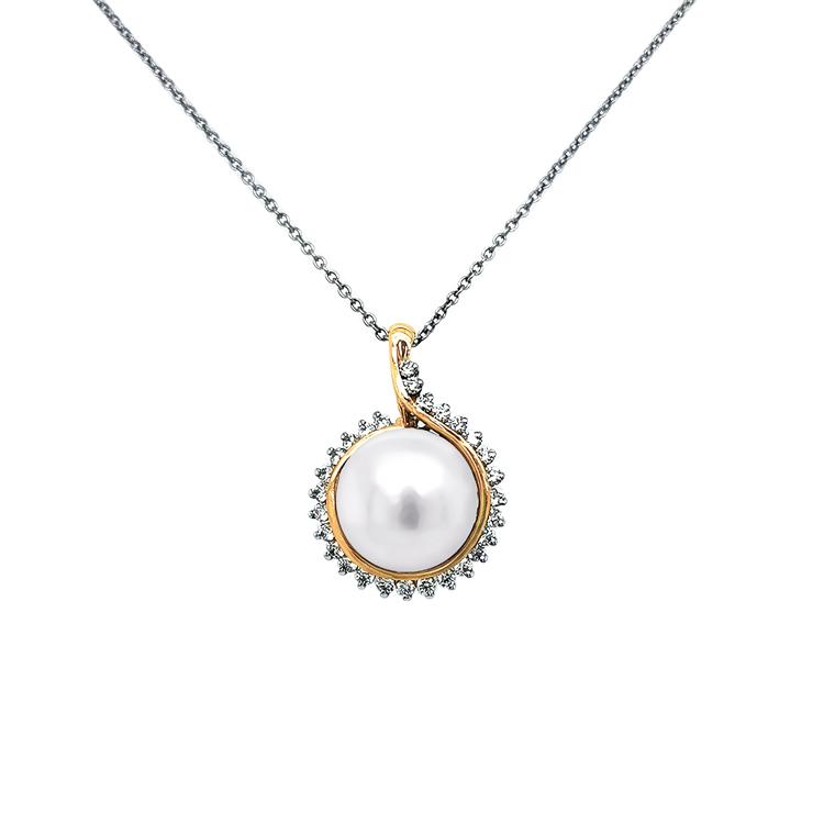Zlatý Přívěsek s Perlou a Diamanty