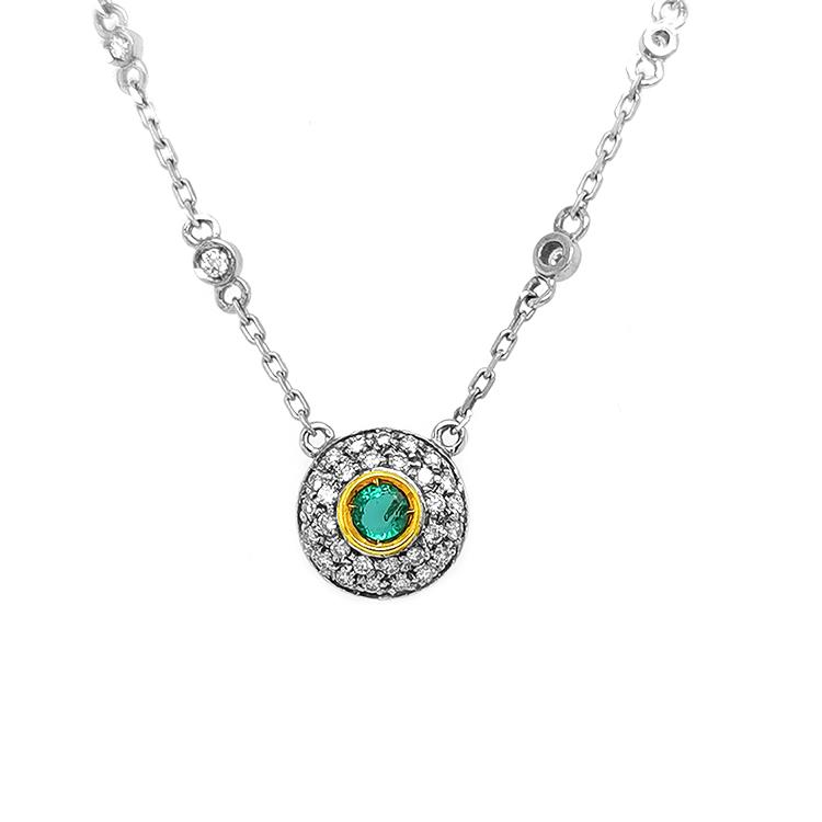 Zlatý Náhrdelník se Smaragdem a Diamanty