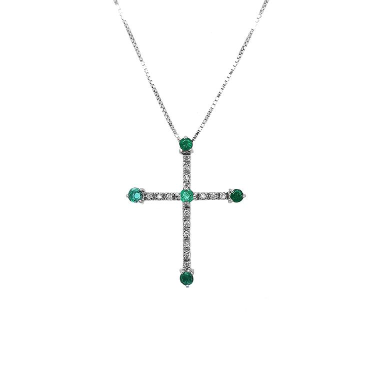 Zlatý Přívěsek Kříž se Smaragdy a Diamanty