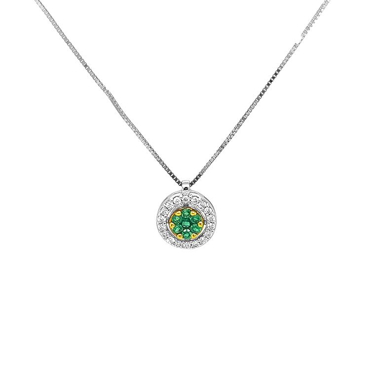 Zlatý Přívěsek se Smaragdy a Diamanty