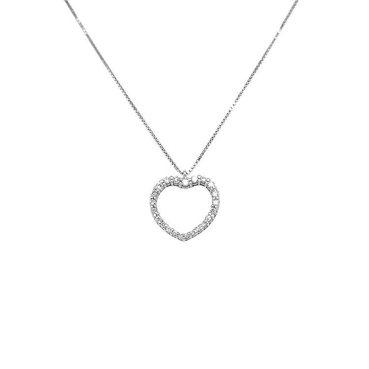 Zlatý Přívěsek Srdce s Diamanty