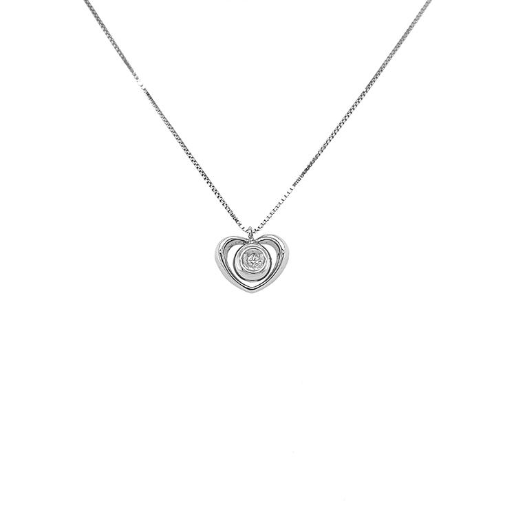 Zlatý Přívěsek Srdce s Diamantem