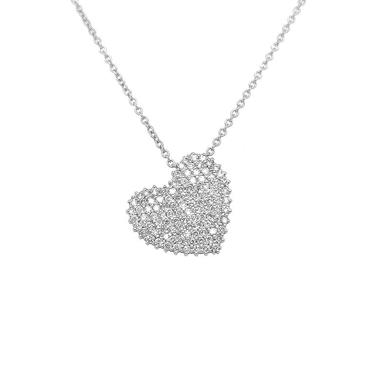 Zlatý Přívěsek ve Tvaru Srdce s Diamanty