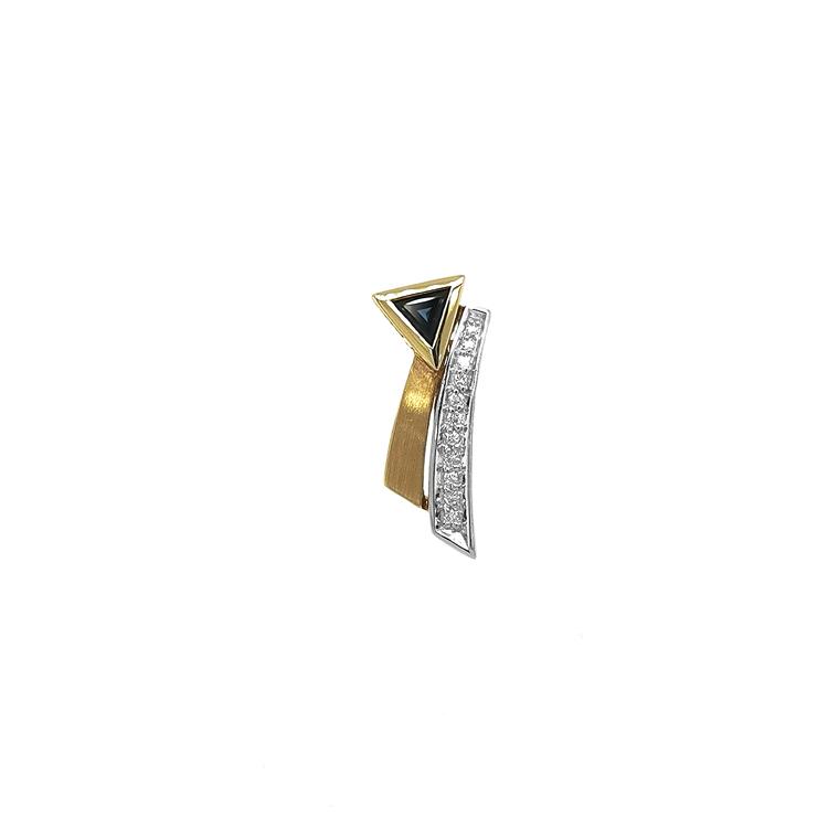 Zlatý Přívěsek s Safírem a Diamanty