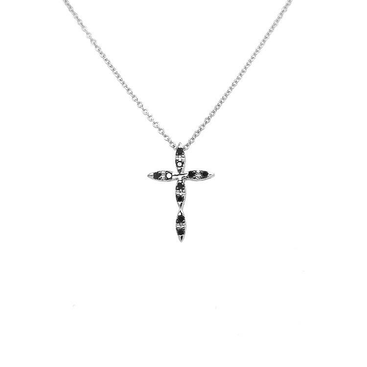 Zlatý Přívěsek Kříž s Černými Diamanty