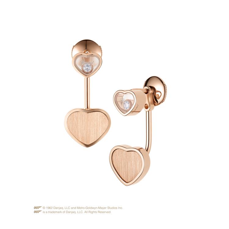 Zlaté Náušnice Chopard Happy Hearts Golden Hearts James Bond 007 83A007-5021