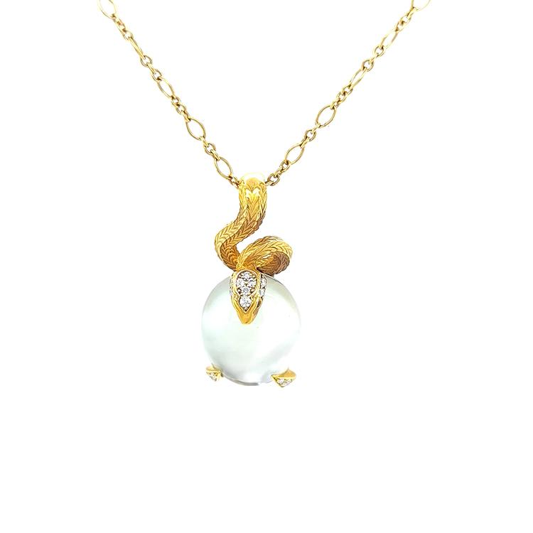 Zlatý Přívěsek s Quartzem a Diamanty Magerit Mythology Snake