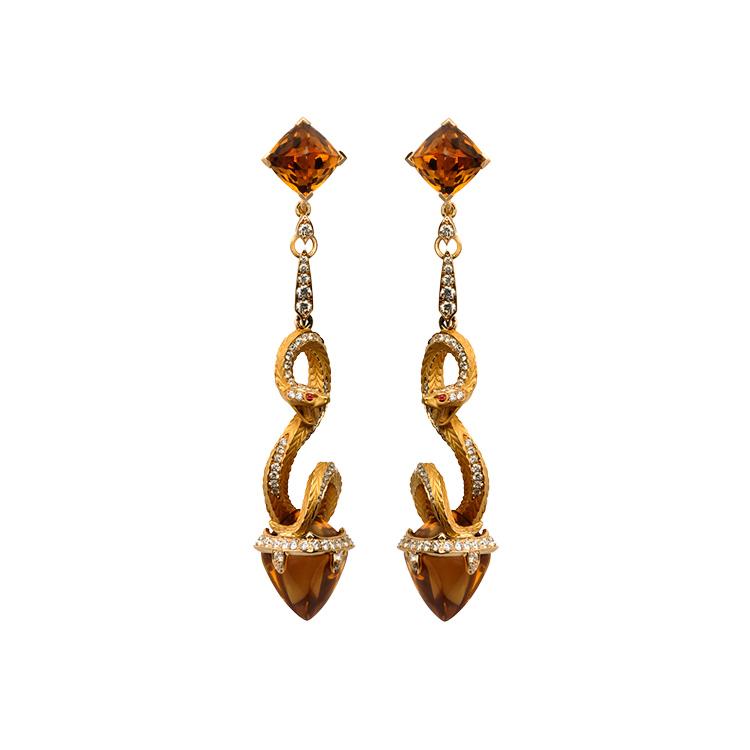 Zlaté Náušnice s Quartzem a Diamanty Magerit Mythology Snake Antique