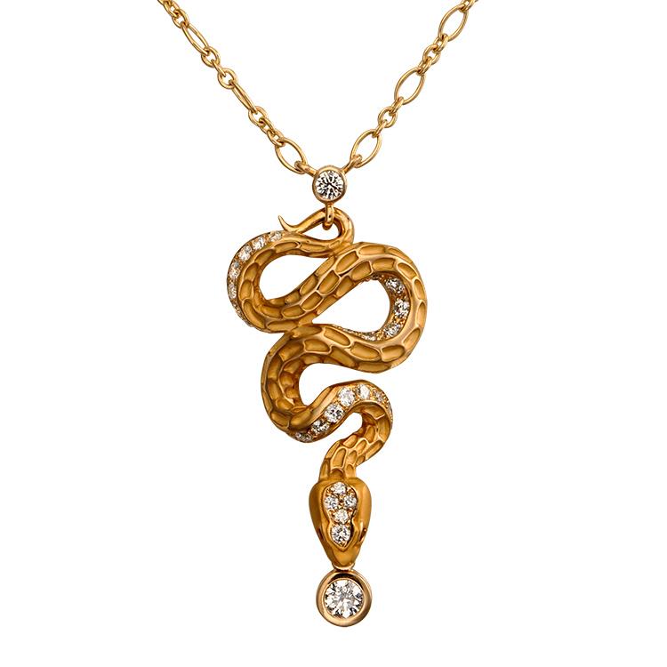 Zlatý Přívěšek s Diamanty Magerit Mythology Snake Diamond