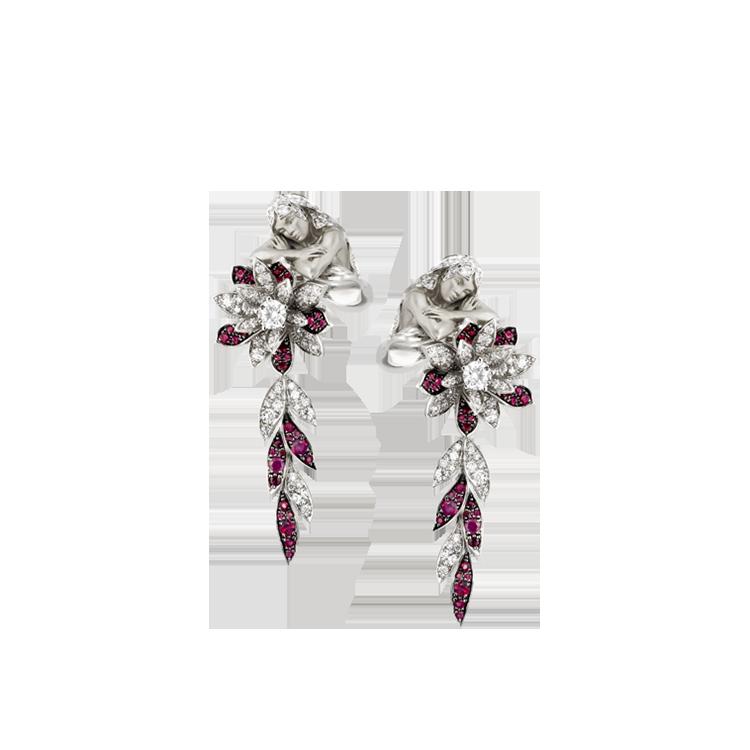 Zlaté Náušnice s Rubiny a Diamanty Magerit Leyenda Zen