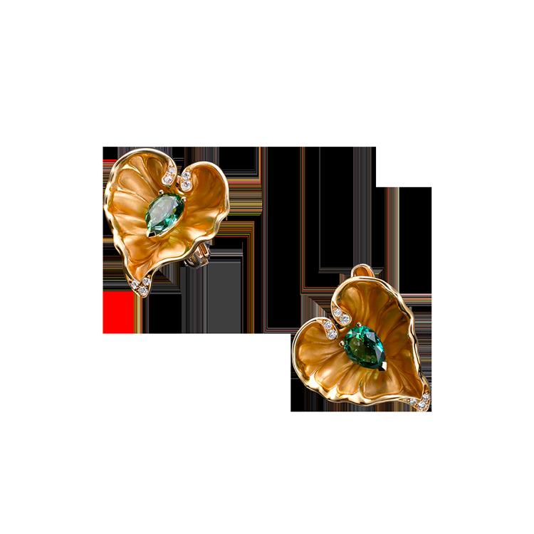 Zlaté Náušnice s Lesním Topazem a Diamanty Magerit Eternal Lady Juliet