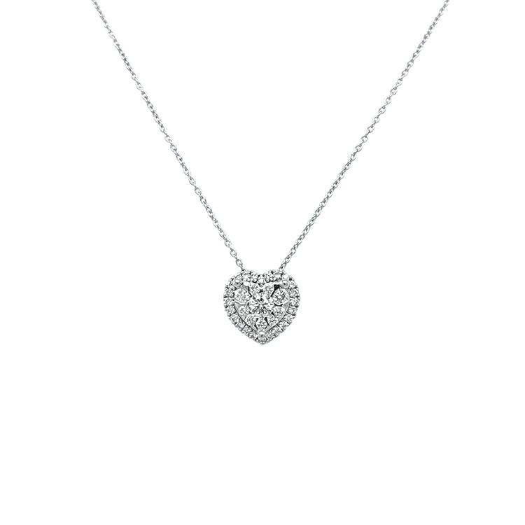Zlatý Přívěšek ve Tvaru Srdce s Diamanty