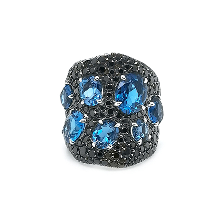 Zlatý Prsten s Modrými Topazy a Černé Diamanty