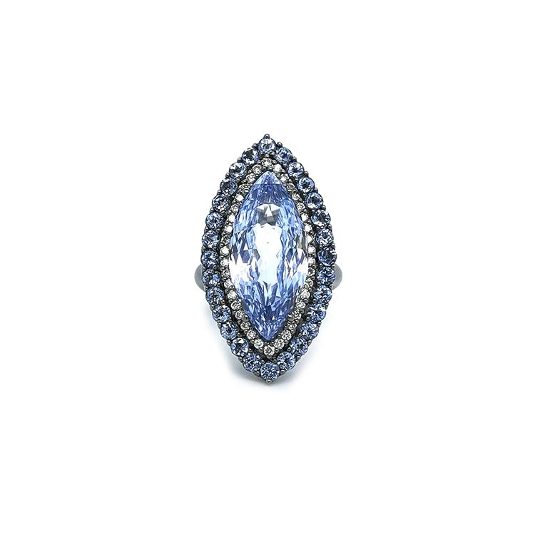 Zlatý Prsten Crivelli s Modrým Topazem a Diamanty