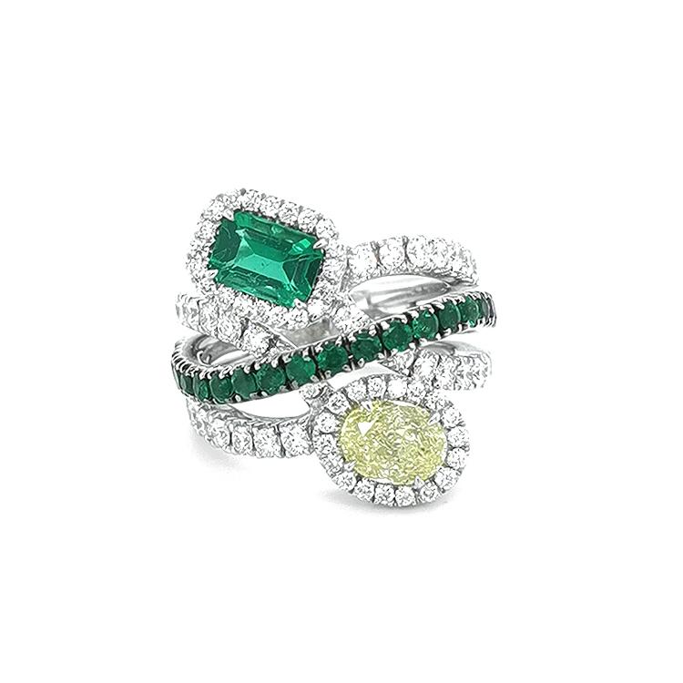Zlatý Prsten Crivelli se Smaragdy, Žlutým Diamantem a Bílými Diamanty