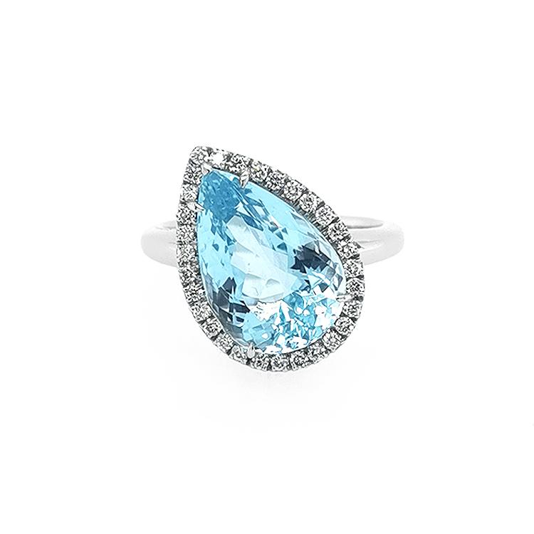 Zlatý Prsten Crivelli s Akvamarínem a Diamanty