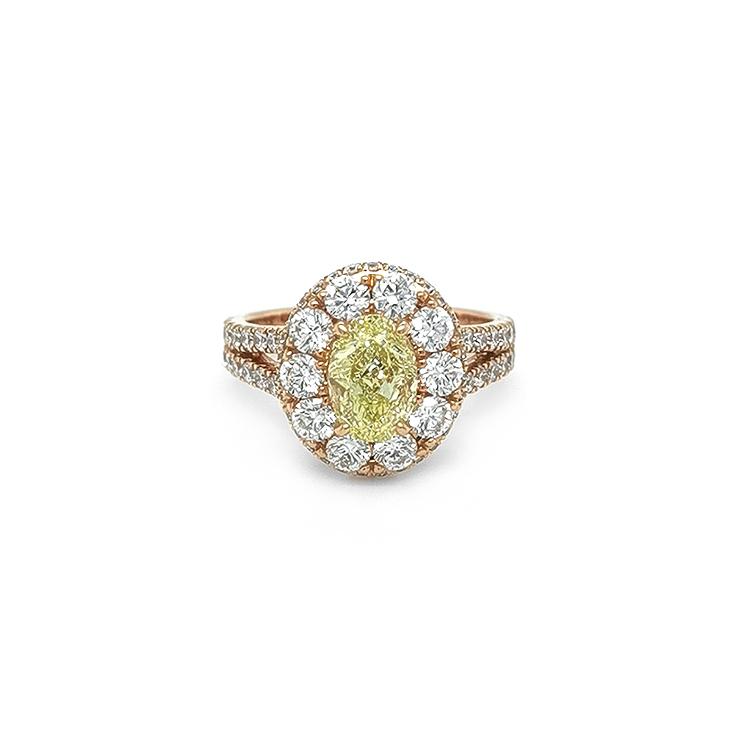 Zlatý Prsten s Žlutým Fancy Diamantem