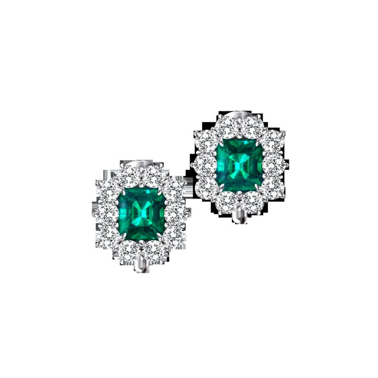 Zlaté Náušnice Crivelli se Smaragdy a Diamanty