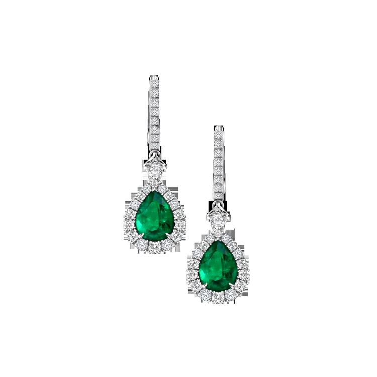 Zlaté Náušnice Crivelli se Smaragdem a Diamanty