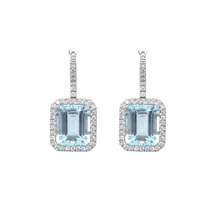 Zlaté Náušnice Crivelli s Akvamaríny a Diamanty