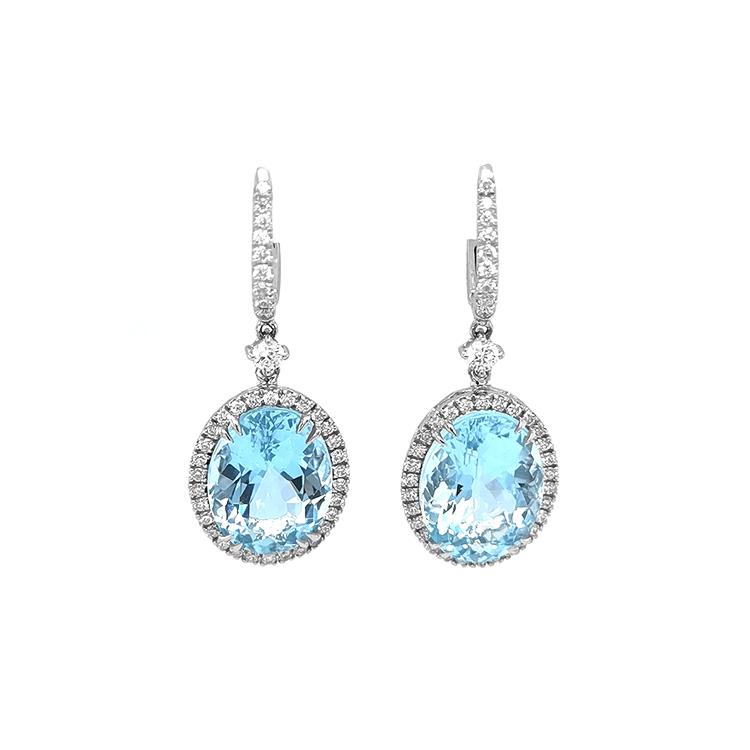 Zlaté Náušnice s Akvamarínem a Diamanty
