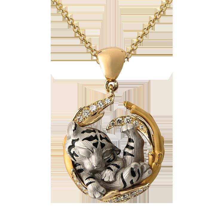 Zlatý Přívěsek s Diamanty Magerit Dreams Dream Tiger