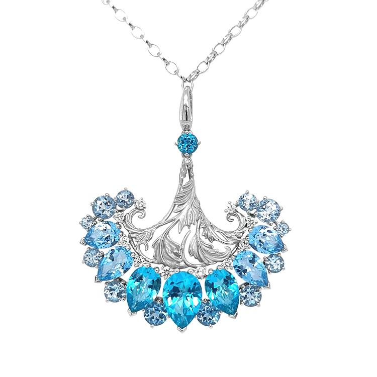 Zlatý Přívěsek s Modrým Topazem a Diamanty Magerit Gea Genus