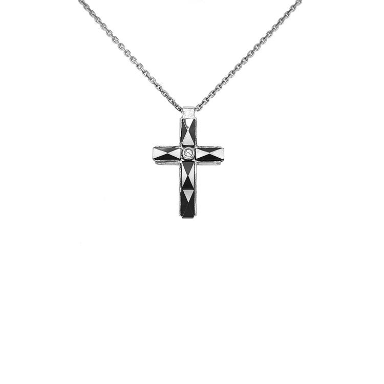 Stříbrný Přívěsek Kříž s Keramikou Zancan Ceramik 925
