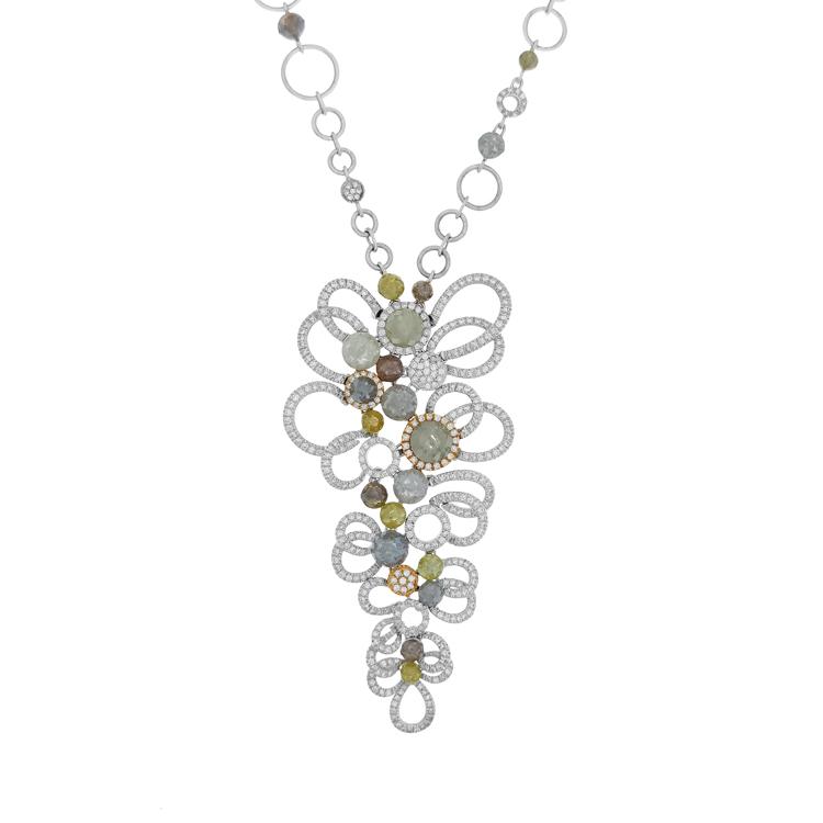 Zlatý Náhrdelník s Barevnými Drahokamy a Diamanty