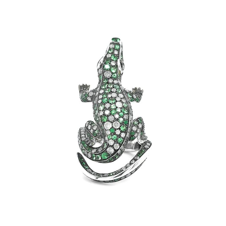 Zlatý Prsten s Zelenými Granáty a Diamanty
