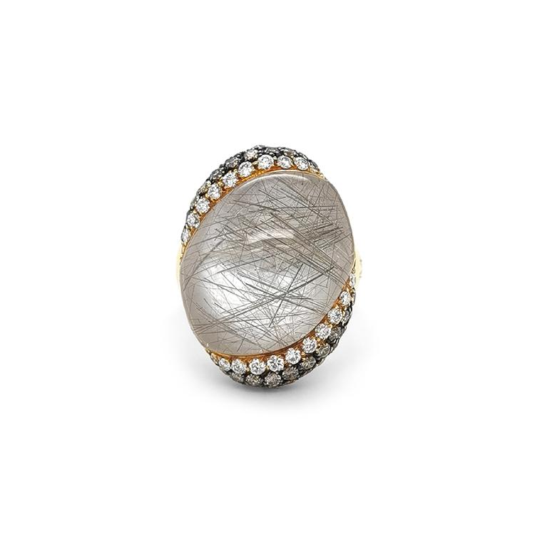 Zlatý Prsten s Perletí a Quatrzem a Diamanty