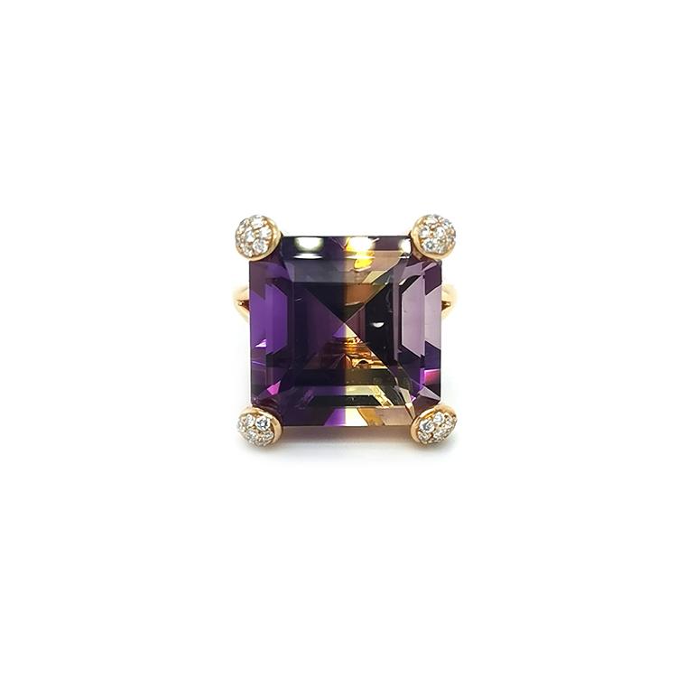 Zlatý Prsten s Ametrýnem a Diamanty