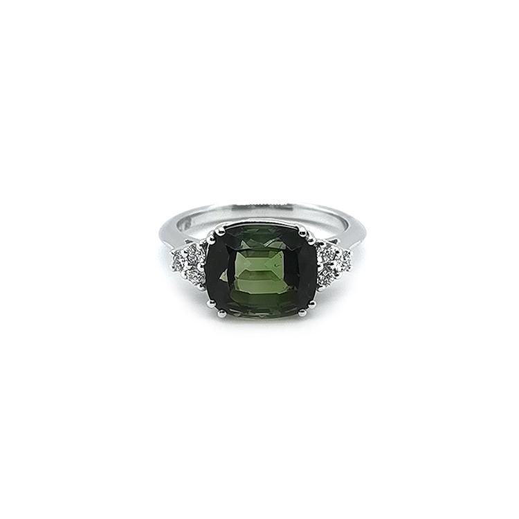 Zlatý Prsten s Zeleným Turmalínem a Diamanty