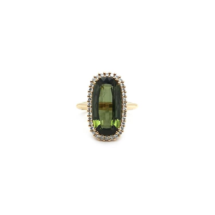 Zlaý Prsten s Zelený Turmalínem a Diamanty