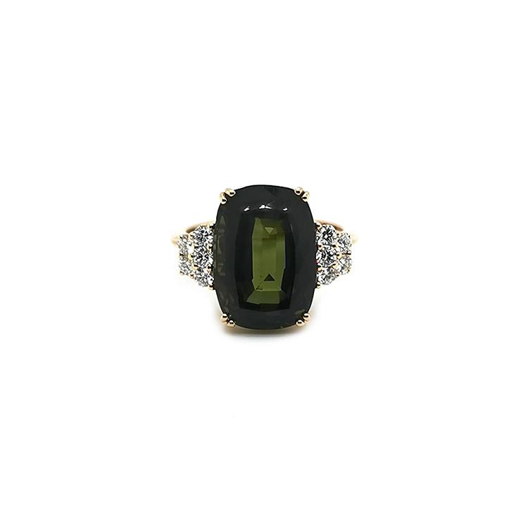 Zlatý Prsten se Zeleným Turmalínem a Diamanty