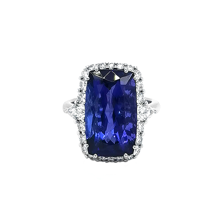 zlatý prsten s tanzanitem a diamanty