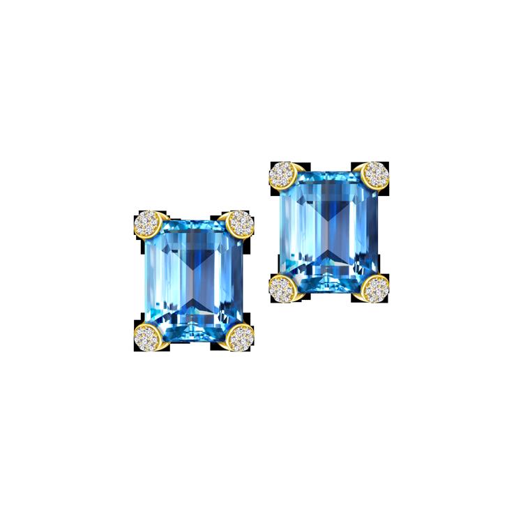 Zlaté Náušnice s Modrými Topazy a Diamanty