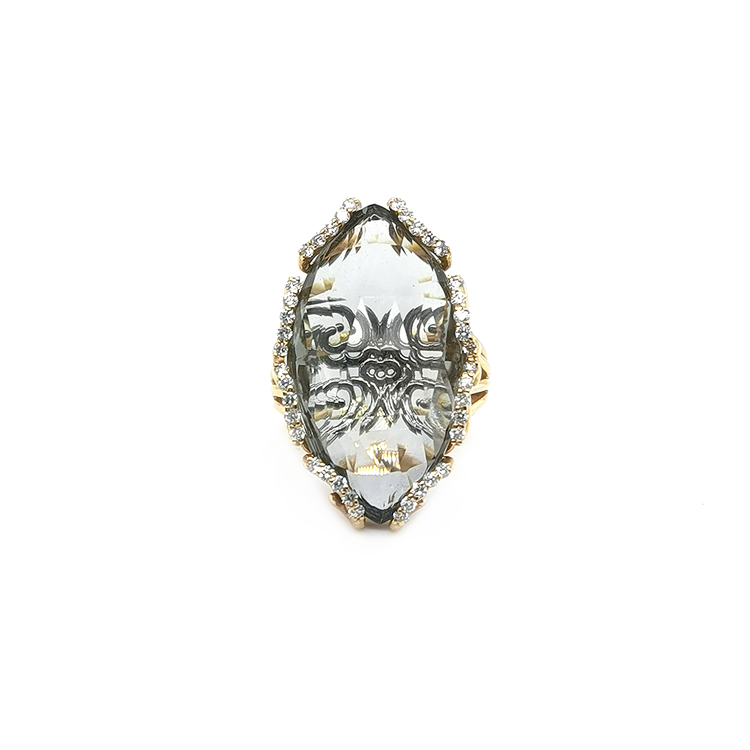 Zlatý Prsten s Prasolitem a Diamanty
