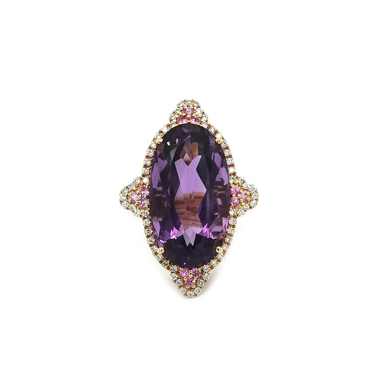 Zlatý Prsten s Ametystem, Růžovými Safíry a Diamanty
