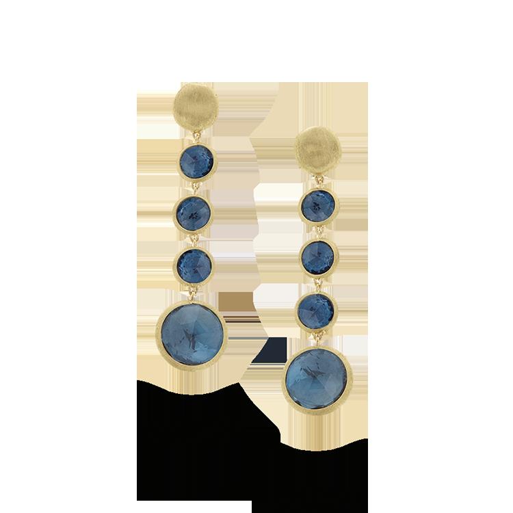 Zlaté Náušnice s Modrým Topazem Marco Bicego Jaipur