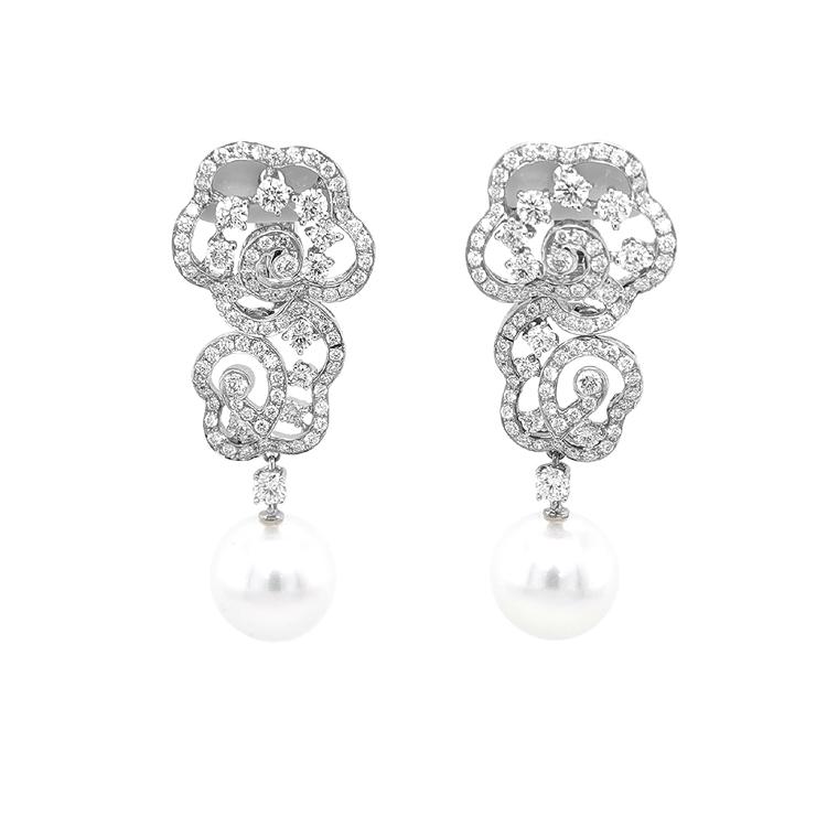 Zlaté Perlové Náušnice s Diamanty SS AA