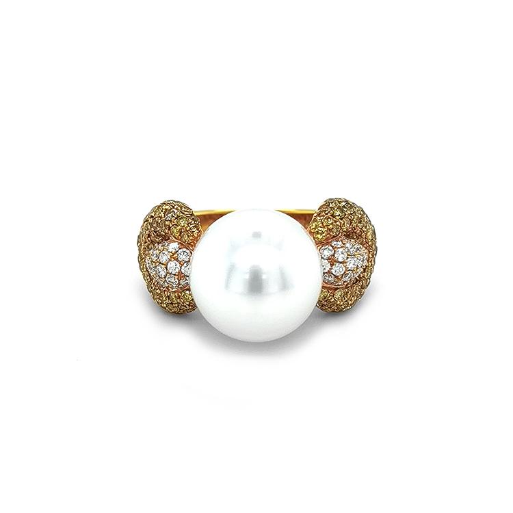 Zlatý Prsten s Perlou a Diamanty